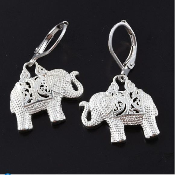 Elephant Dangle Drop Earrings for Women Genuine 925 Sterling Silver Jewelry 4g